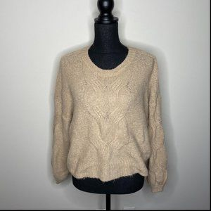 Debut Tan Crew Neck Long Sleeve Knit Sweater XS